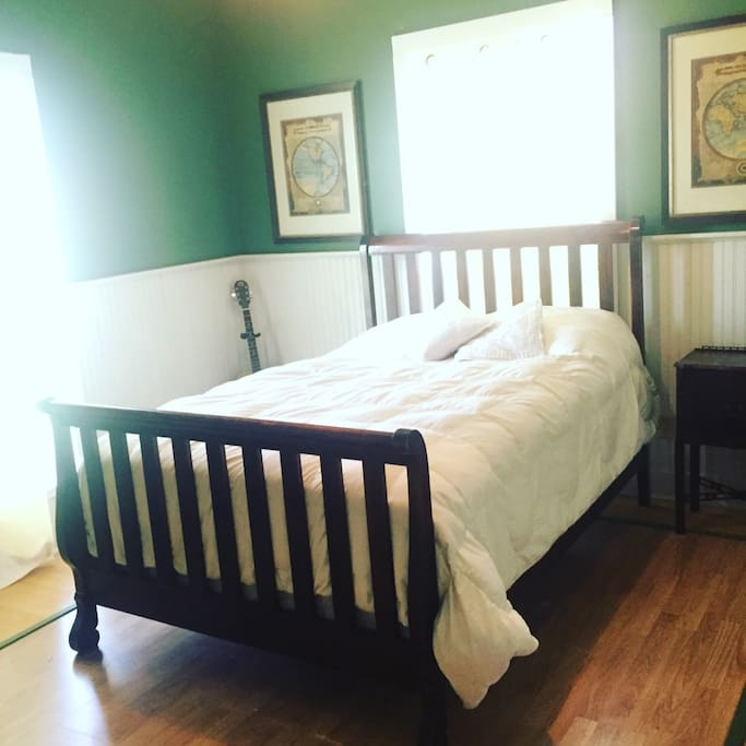 Main bedroom with queen bed and locking door.