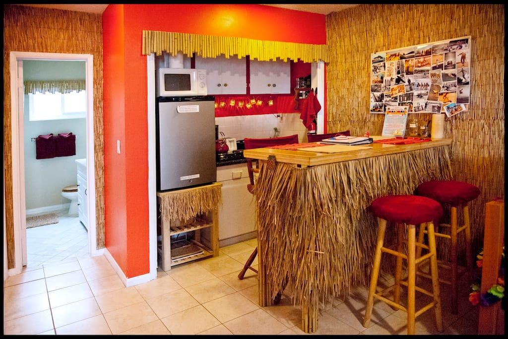 The kitchenette and tiki bar.