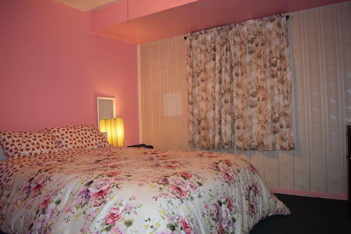 Pink Private TV Fridge off hallway LAX Central AC