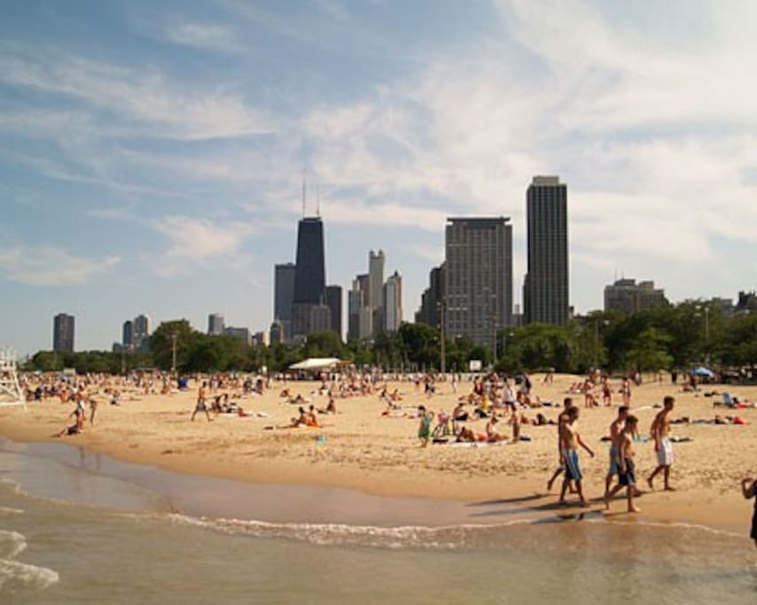 North Avenue beach offers great views of the city.  6 min by Uber, 12 min by bus.