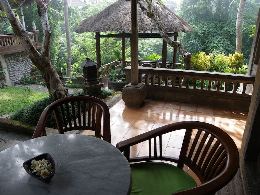 Private balcony with amazing views to the jungle. Ten steps to the pool....Your home away from home.