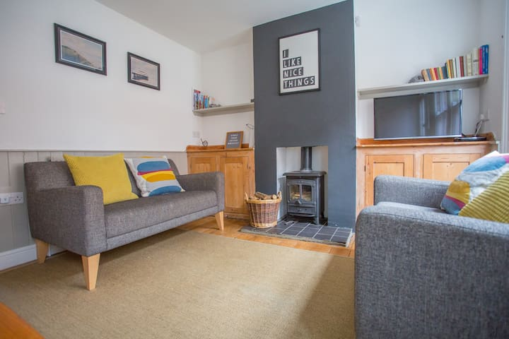 Comfortable lounge with wood burner (logs provided), Smart TV, DVD player with wide choice of films for adults and children