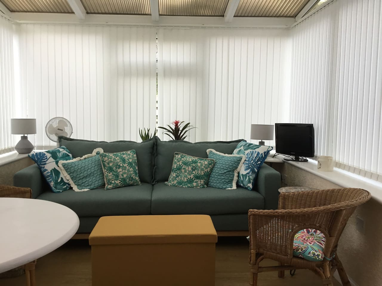 This shows the conservatory with the sofa which opens out into a double bed. There is also a bedroom with a 4 foot wide bed - see next photos
