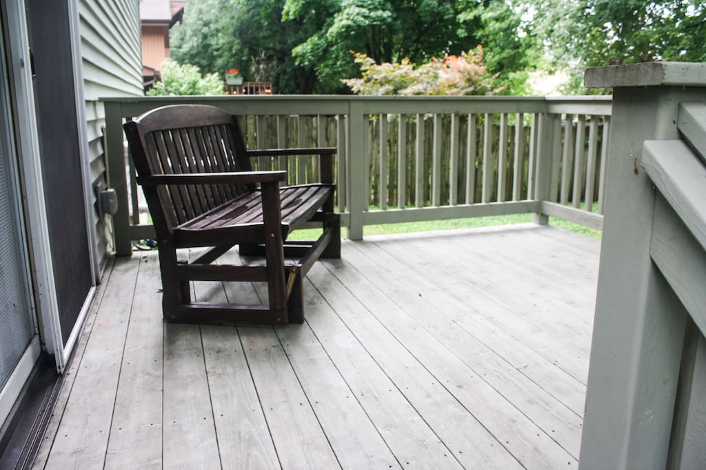 There is a siding glass door in your room, so you can walk right onto our back deck and relax.