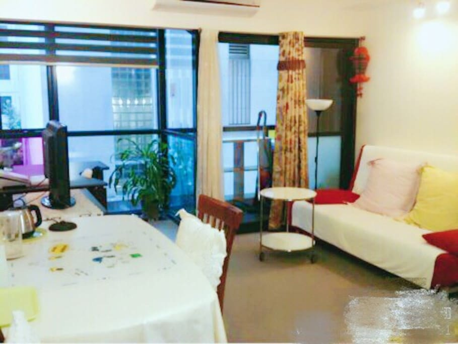 Fully furnished, Large living room, with balcony access. Comfortable sofa bed can accommodate for 2 people.