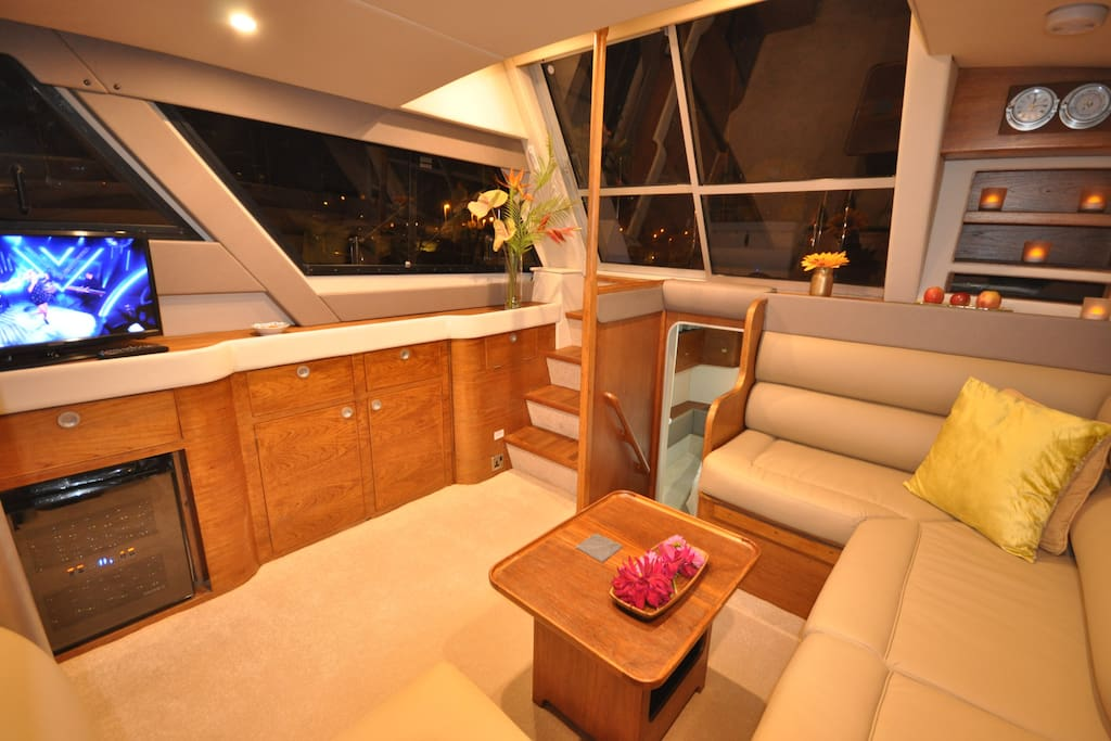 Large saloon space with TV, wine cooler, soft leather seating.