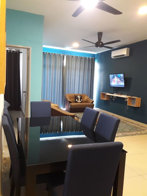 New look cosy living room for your relaxing stay.Painted blue inspired by ocean theme and to reflect calmness and get together family, friends or working buddies.