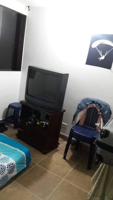 Habitación con televisor 29 pulgadas. Con teleoperador Une.