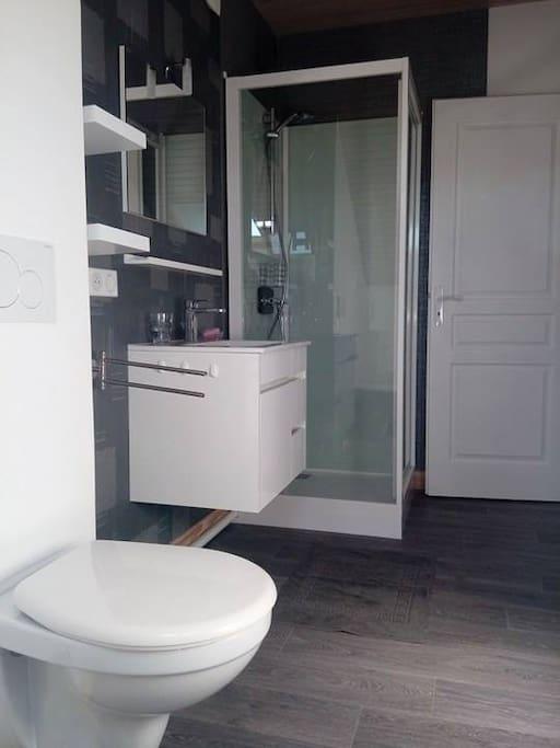 Chambre B : Salle de bain (avec WC) privative