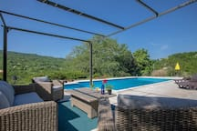Pool & Lounge surounded with olive & oak trees. Pool is 5 x 10 meters, ideal for swimming