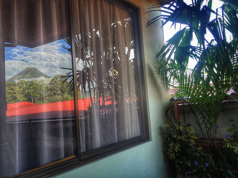 That's the amazing view that you can have from one if the bedroom's window. Both bedrooms have an amazing volcano view.