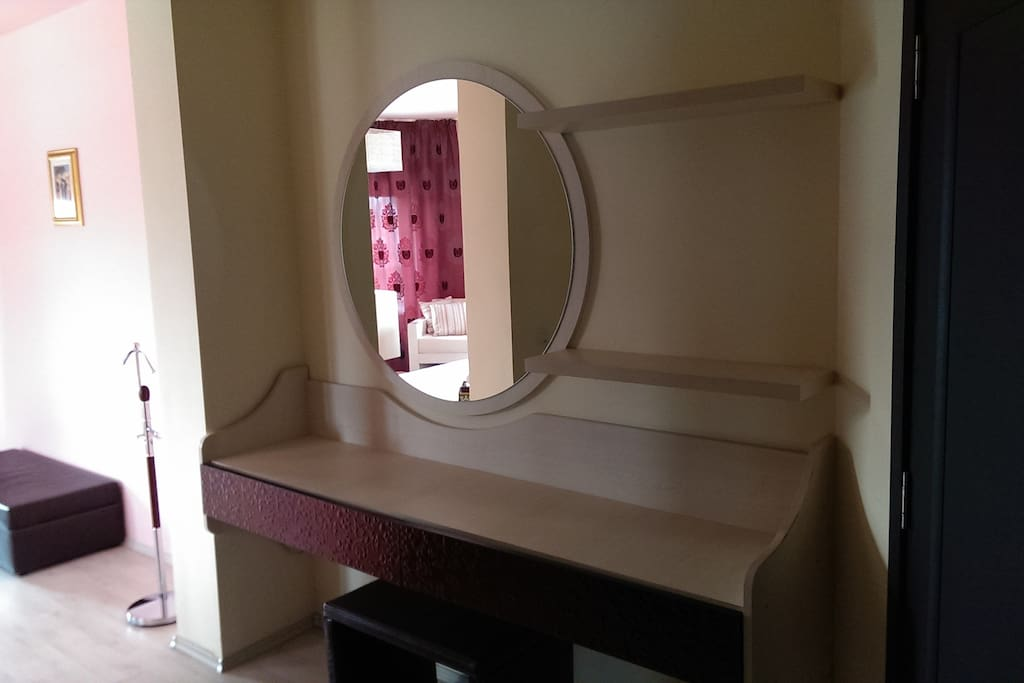 Mirror with shelves and drawers