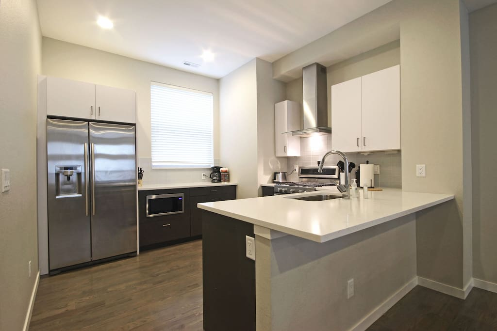 View of the kitchen, stainless steel appliances