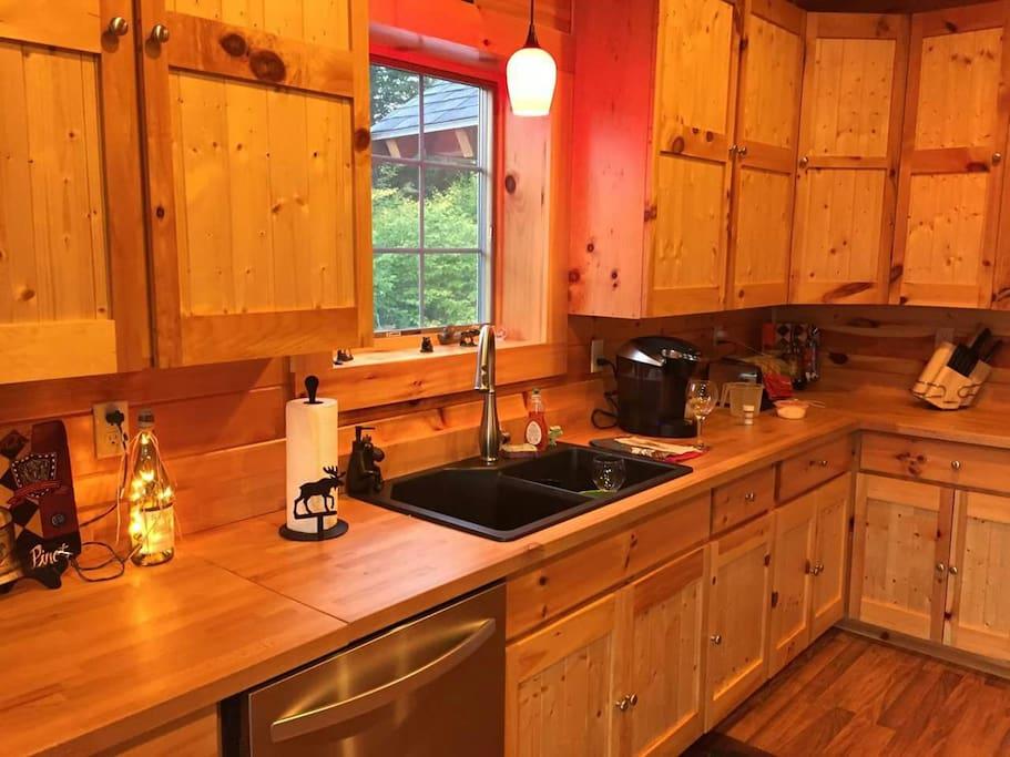 butcher block counter tops in kitchen
