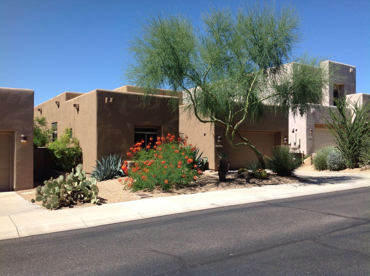 Our home is on a quiet street in Pinnacle Canyon, a gated community within Troon North in North Scottsdale.  The home has a clean double car garage, and the ceilings are a soaring 14' high. Feels VERY spacious!