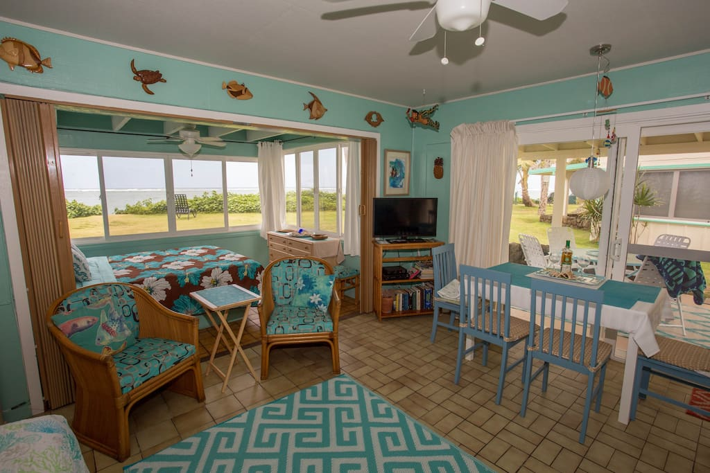 Main room, Access to Lanai and Overlooks Ocean/Beach.