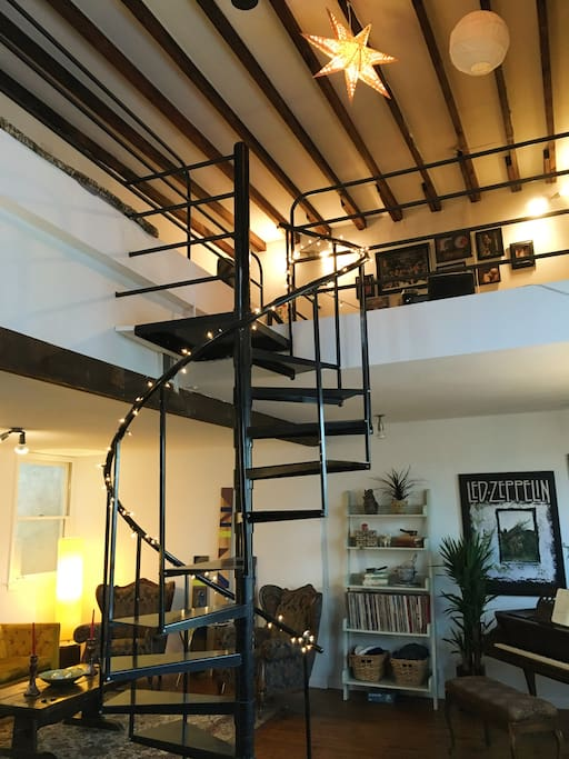 Take our spiral staircase up to the loft...