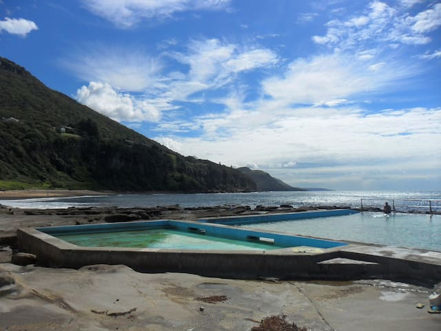 Coal cliff pool  5 minute drive or 20 minute walk along the Grand Pacific walking track