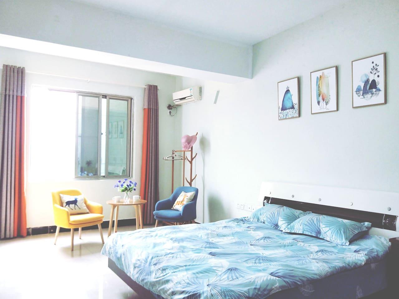 48平米整套单身公寓,空间大,窗外就是闽江