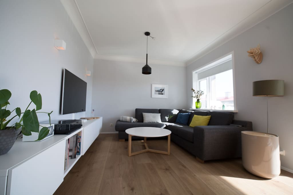 """TV area with """"55 TV, apple TV, turntable and more."""
