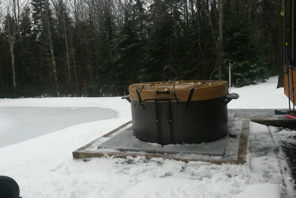Hot tub overlooking pond