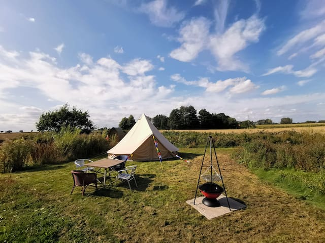 Bring you own bedding bell tent by swimming pond!
