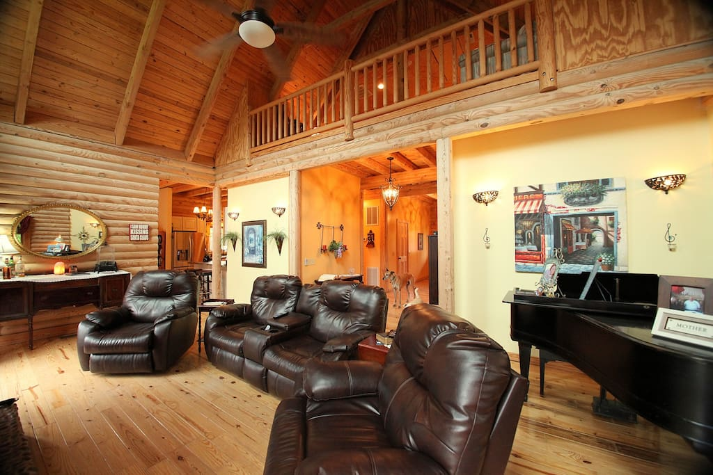 This massive great room is a lovely place to spend enjoying a nice cup of hot chocolate, watching tv or playing the baby grand piano, if you are so inclined.