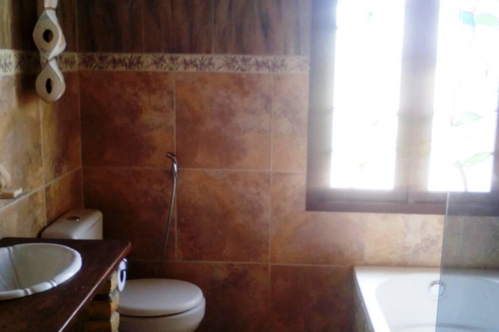 Salle de bain avec baignoire d´hydromassage et douche