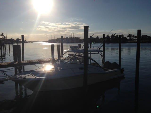 View of Sunset at onsite marina