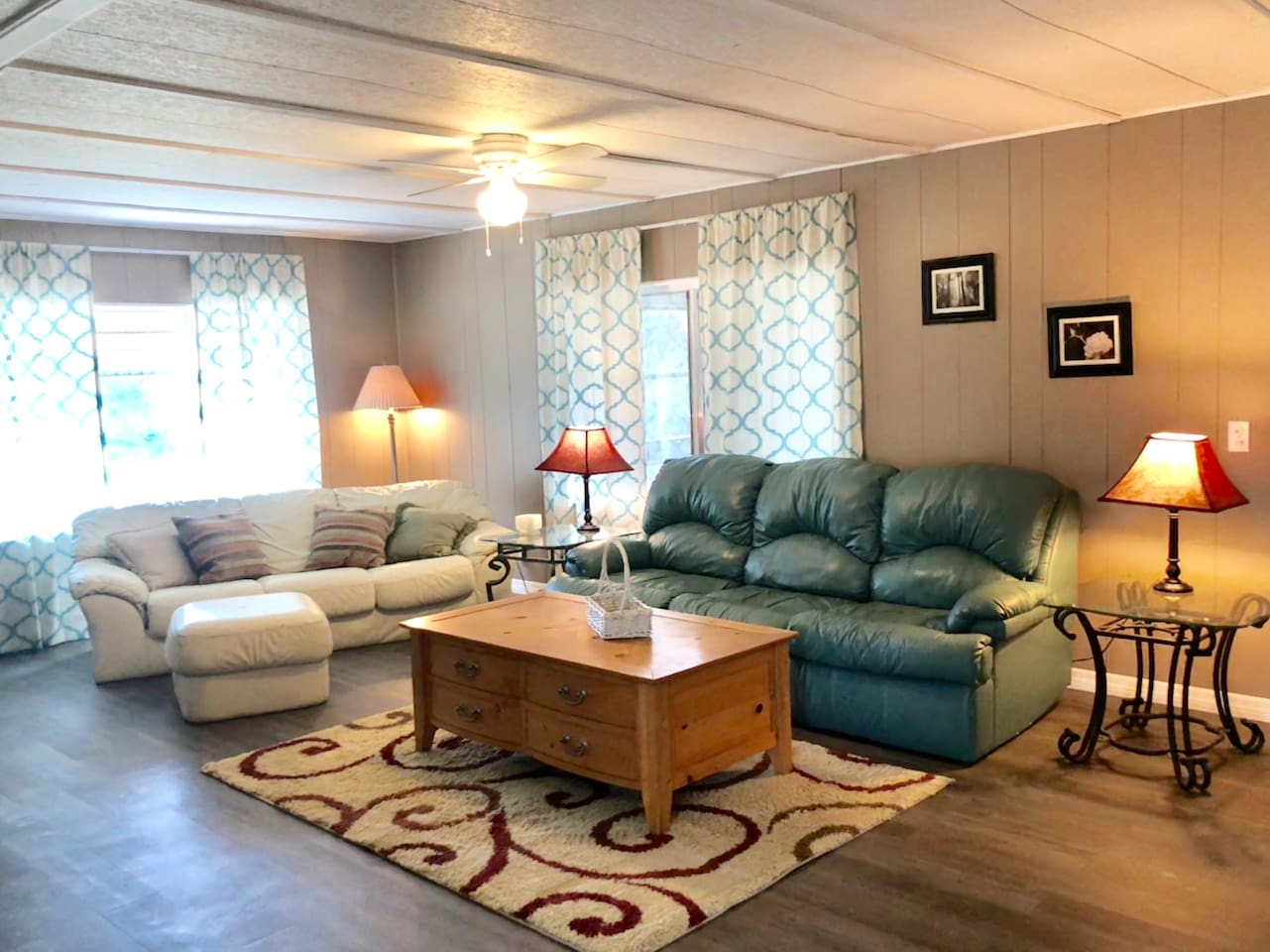 Spacious living area with queen size pull out couch, large TV, DVD player, and WiFi.