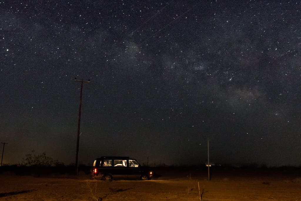 This is a real picture from my property at night. Thanks to a airbnb guest with a real eye for photography