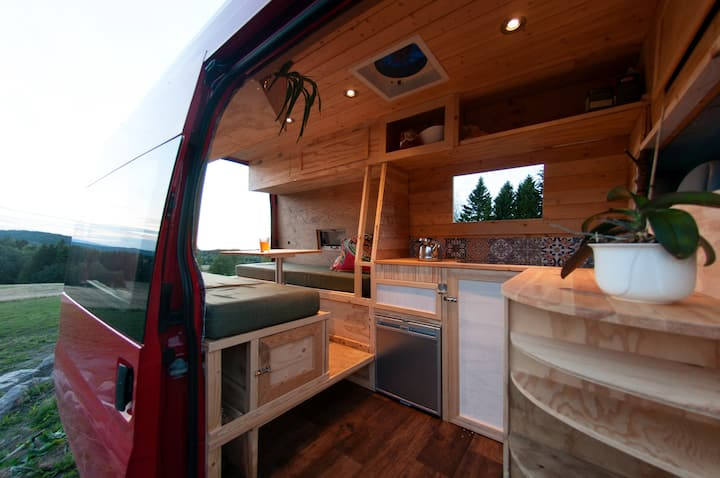Cozy wooden campervan