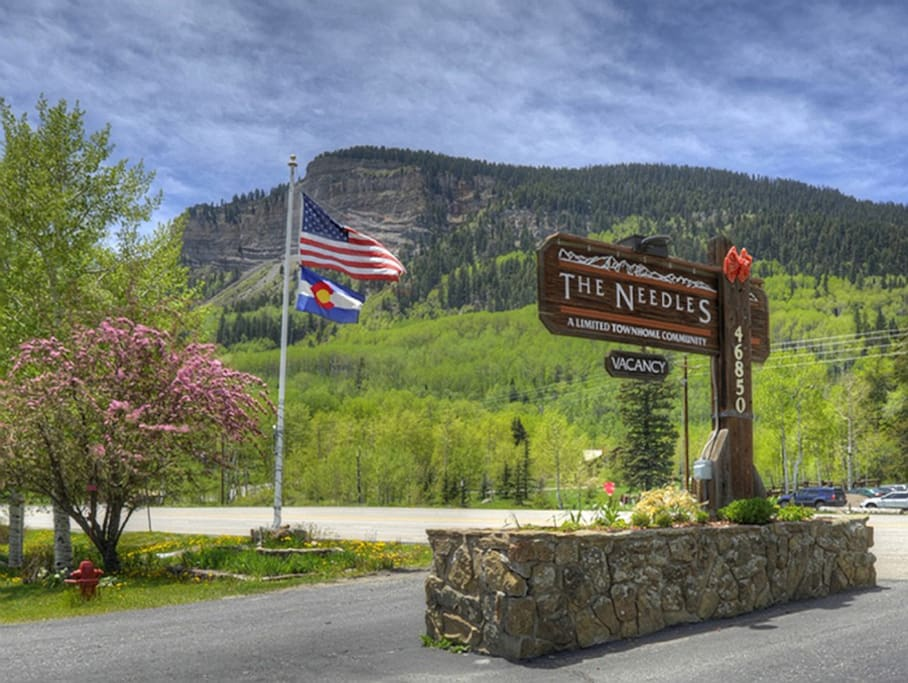Entrance to Needles Townhomes Durango Colorado vacation rental condo near Purgatory Ski Resort