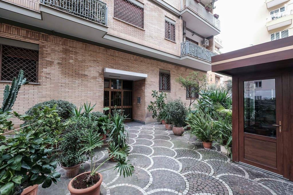 The condominium entrance.