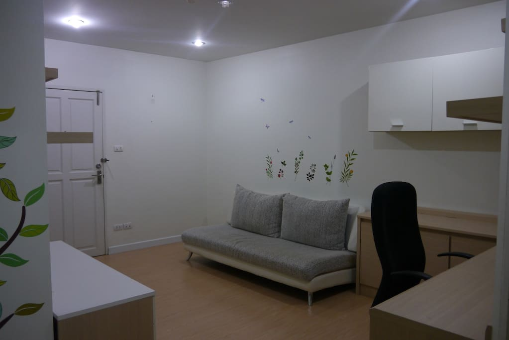 big common room with sofa bed, flat TV