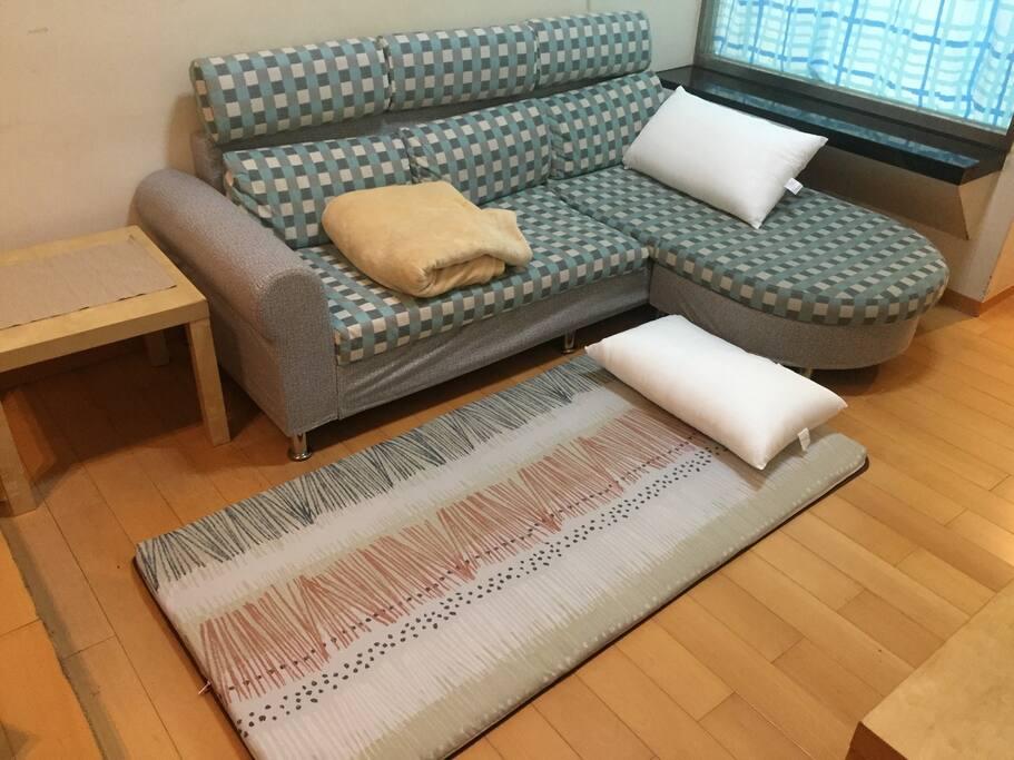 3 to 4 people sleep on the sofa and floor mats.