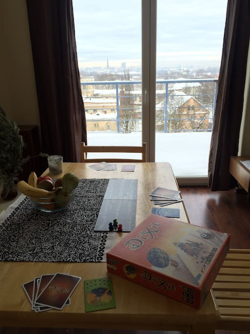 Few board games with comfy table, 3 chairs and amazing view to whole Riga!