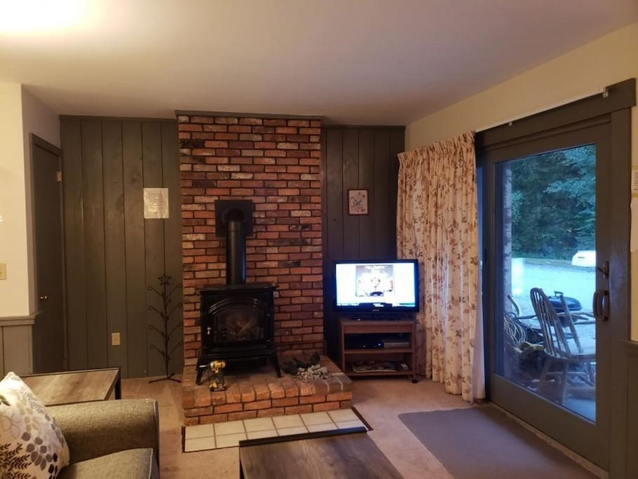 Enjoy the gas fireplace, just steps from the trails!