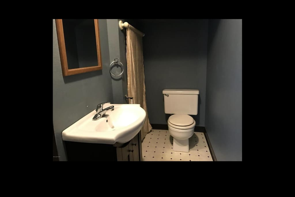 Recently remodeled downstairs half-bathroom.
