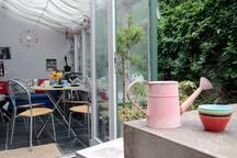Breakfast area in summertime . . . !