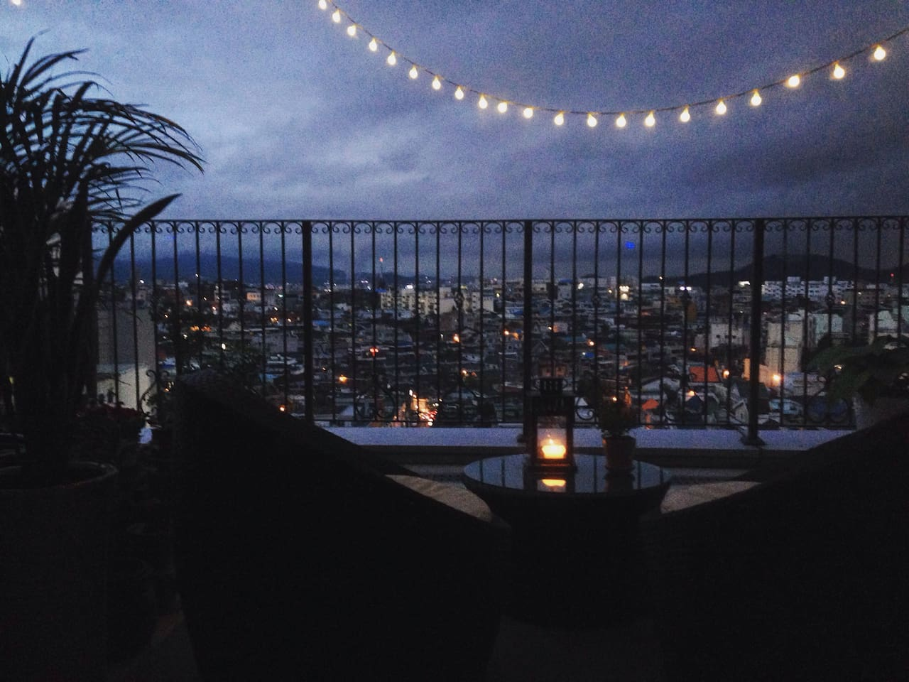 Romantic evening at the balcony