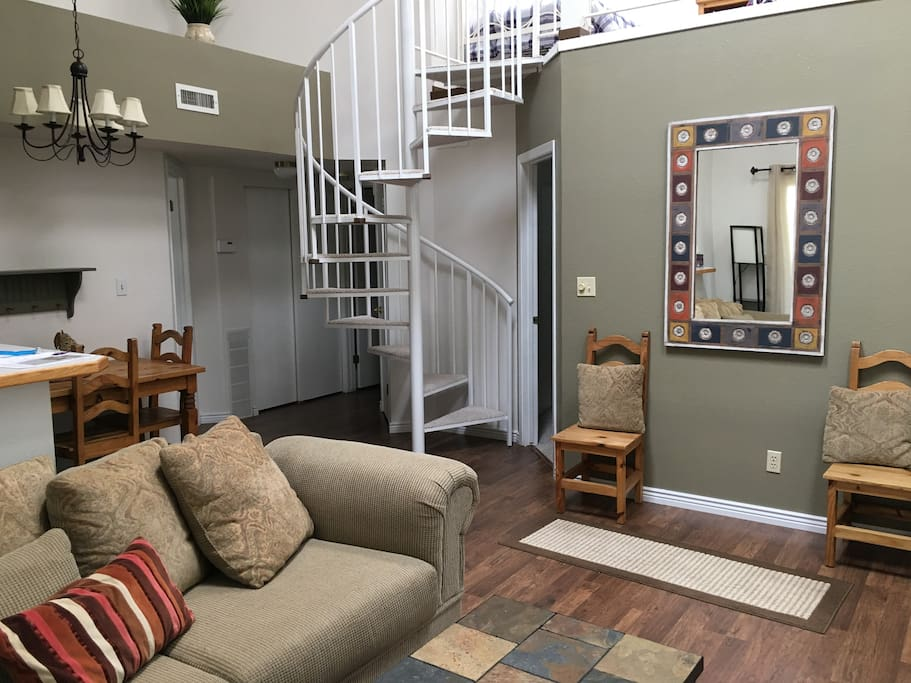 Living room and open concept kitchen/dining