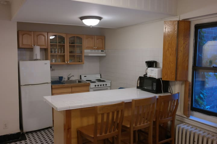 Here is the island kitchen with a large fridge and all kitchen amenities.