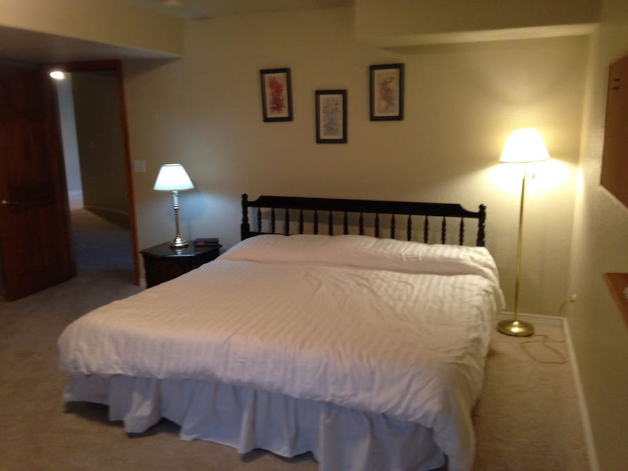 Primary separate bedroom.  King bed comprised of two attached twin beds