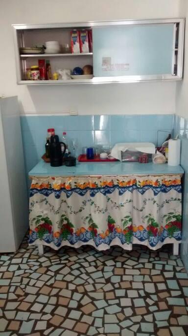 Cozinha montada, faça suas refeições na casa.