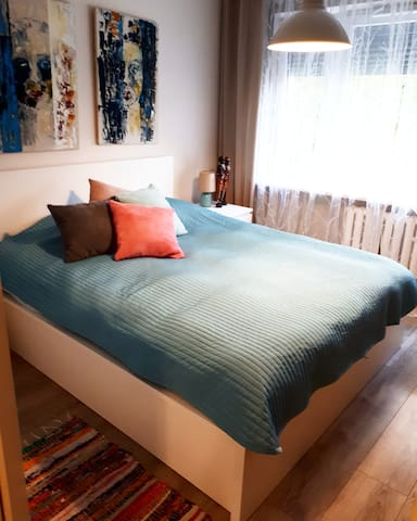 Comfortable and very homely bedroom, with exterior roller blinds to make the room dark and great ambience to sleep.