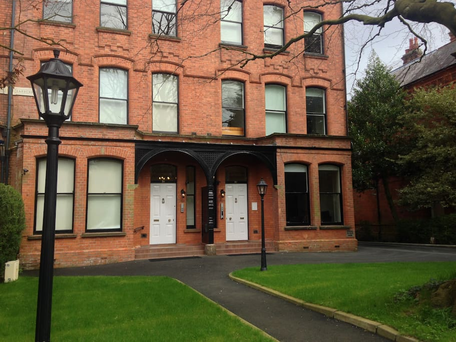 Exterior- our apartment is the 2 windows on the RHS