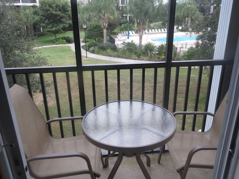 View of the pool from the patio - just steps away