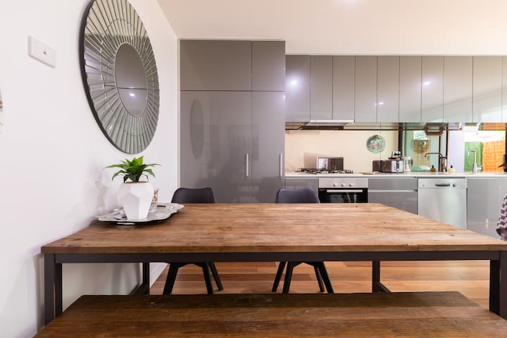 Modern kitchen and dining.