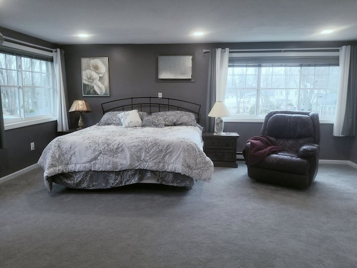 Quiet, sun-filled master suite